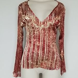 Komarov rust pleated top lace accents-L